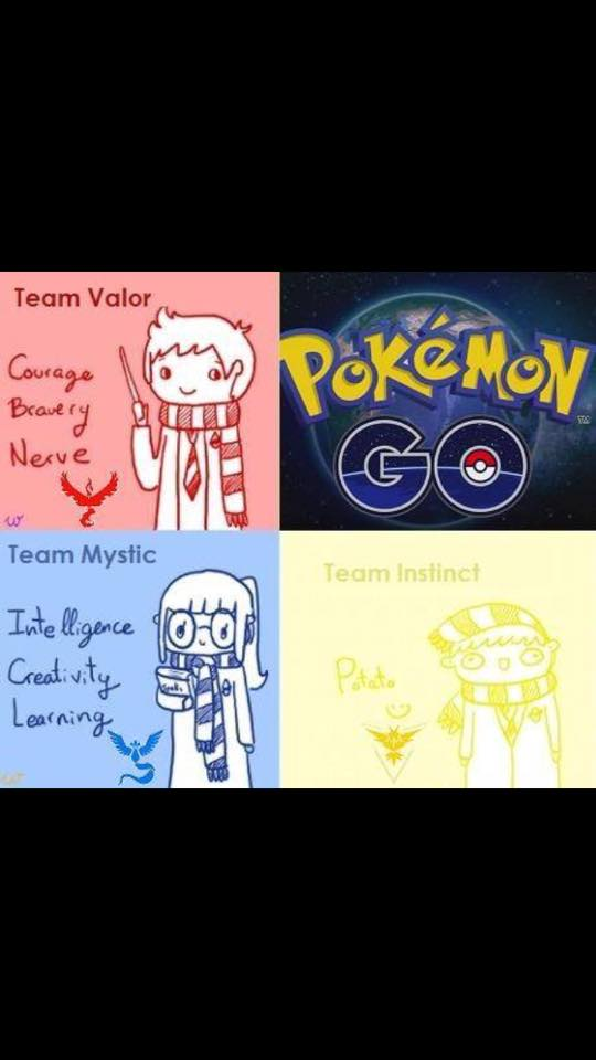 Team Valor - Courage, bravery, nerve. Team Mystic - Intelligence, creativity, learning. Team Instinct - Potato.